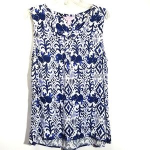 Lilly Pulitzer Blue Elephant Sleeveless Top sz L